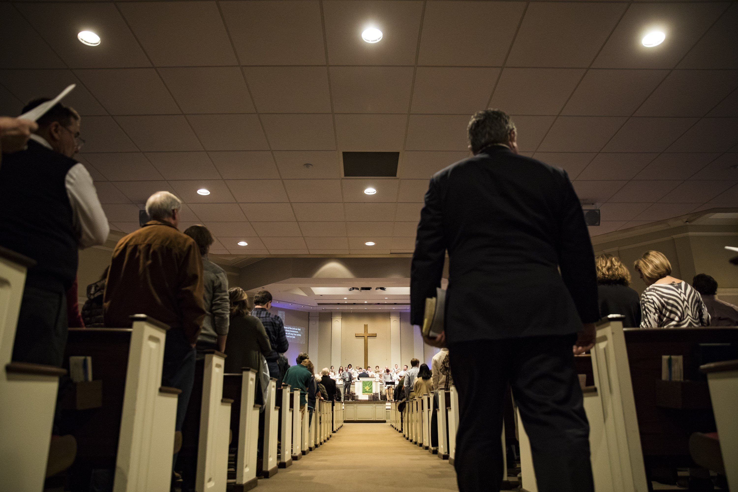 TENNESSEE, USA - JANUARY 07: Evangelical Christians gather for Sunday worship service at First Evangelical Church in Memphis, Tennessee, United States on January 07, 2018. (Photo by Samuel Corum/Anadolu Agency/Getty Images)