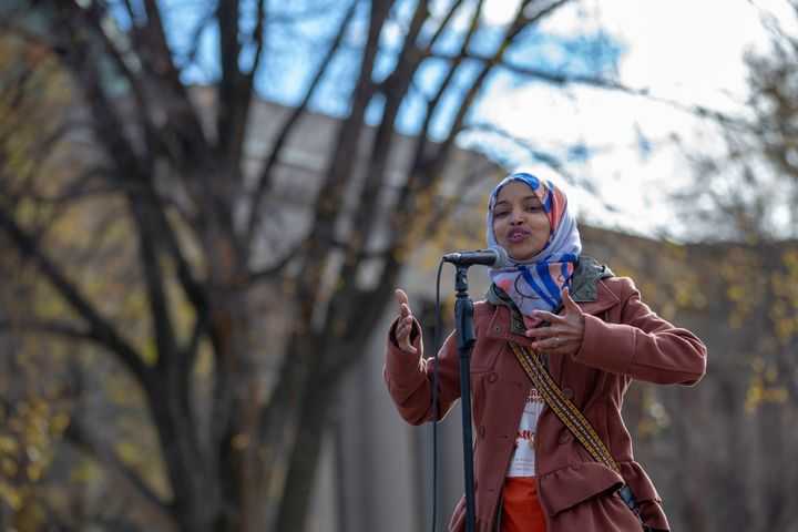 Ilhan Omar, a Muslim Somali-American running for Minnesota's 5th Congressional District, campaigns at the University of