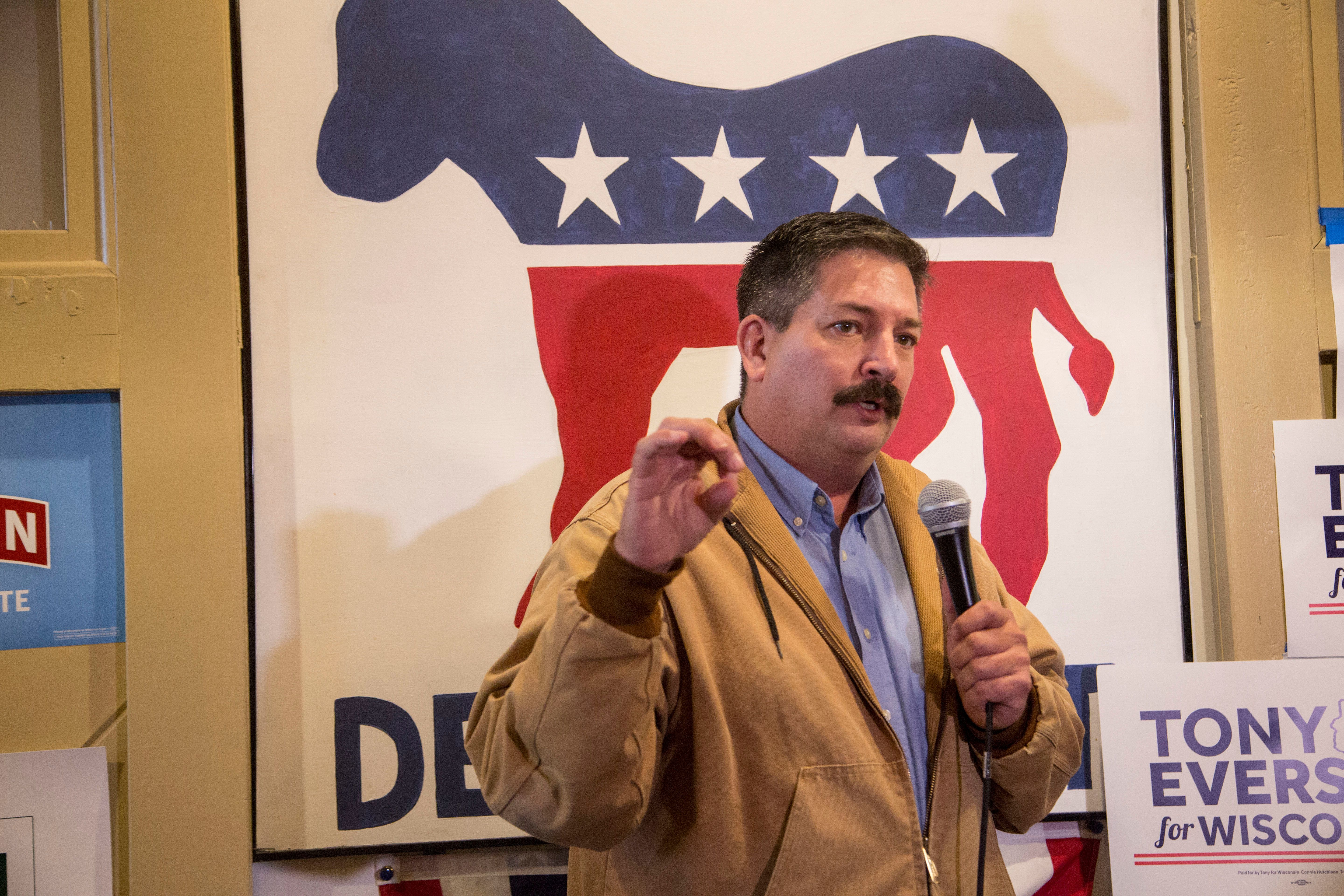 Democrat Randy Bryce speaks at a campaign event in Racine, Wisconsin, on Nov. 4, 2018.