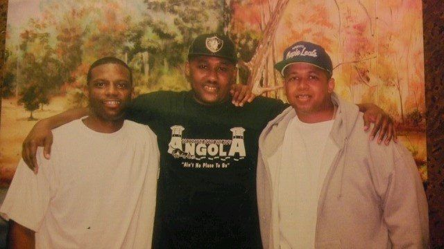 Glenn Davis, left, and co-defendants at Louisiana State Penitentiary. Davis spent 15 years in prison before he was exonerated