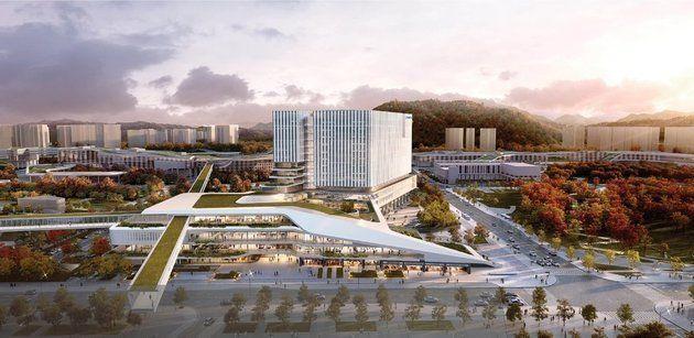 '고층형'으로 지어진 공모전 당선안. 희림종합건축사사무소 컨소시엄이 낸'세종 시티 코어'(Sejong City Core)란 작품이다.행복청은...
