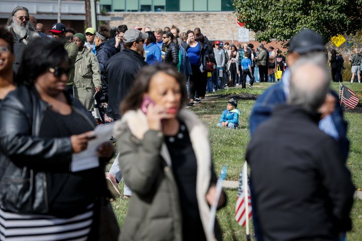 Voters line up for early voting in Cincinnati, Ohio.