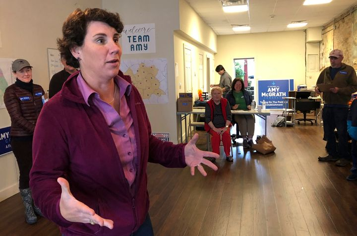 "Democrat Amy McGrath speaks to supporters at a campaign field office in Winchester, Kentucky. She says Congress ""has totally"