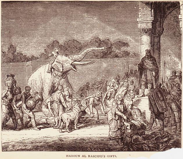 (Wiki: Abul Abbas war ein Elefant, der dem fränkischen Kaiser Karl dem Großen von Kalif Hārūn ar-Raschīdgeschenkt wurde. Er war der erste namentlich und urkundlich belegte Elefant nördlich der Alpen.)