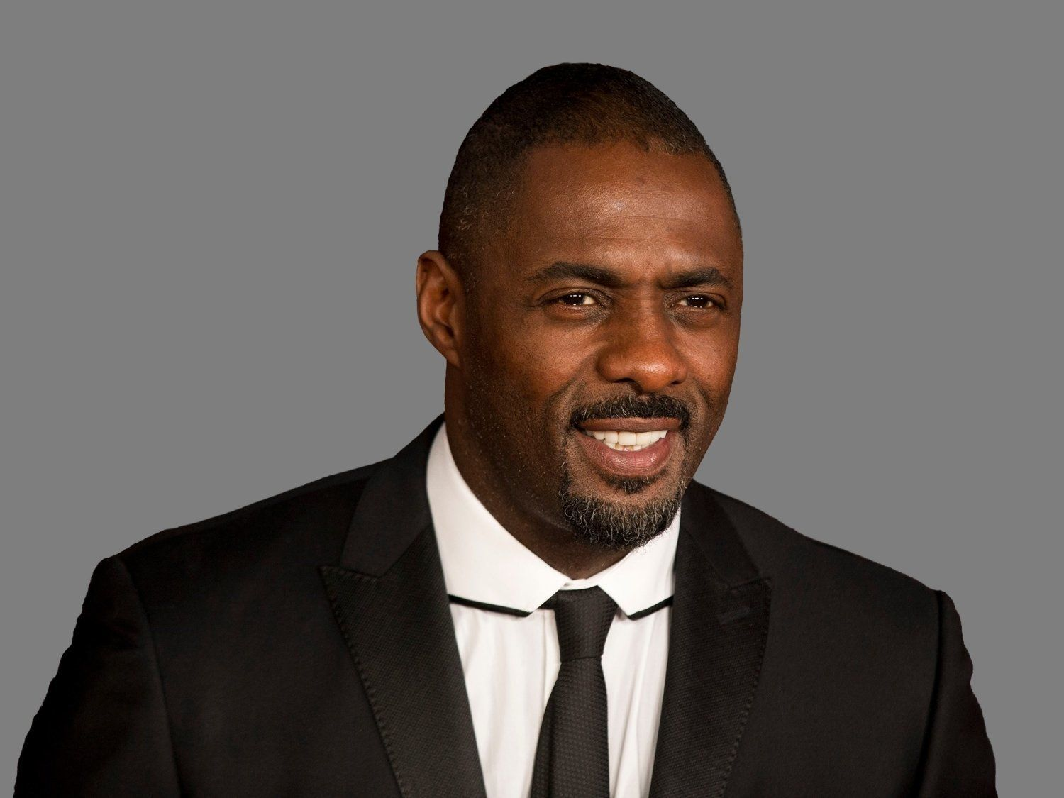 Idris Elba headshot, actor, graphic element on gray