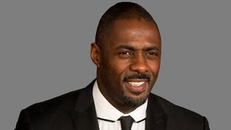 Idris Elba headshot, actor, graphic element on gray