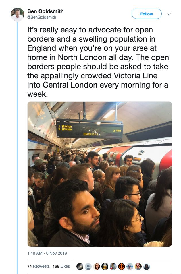 Ben Goldsmith Claims Immigration Is Responsible For Crowded Tubes At Rush