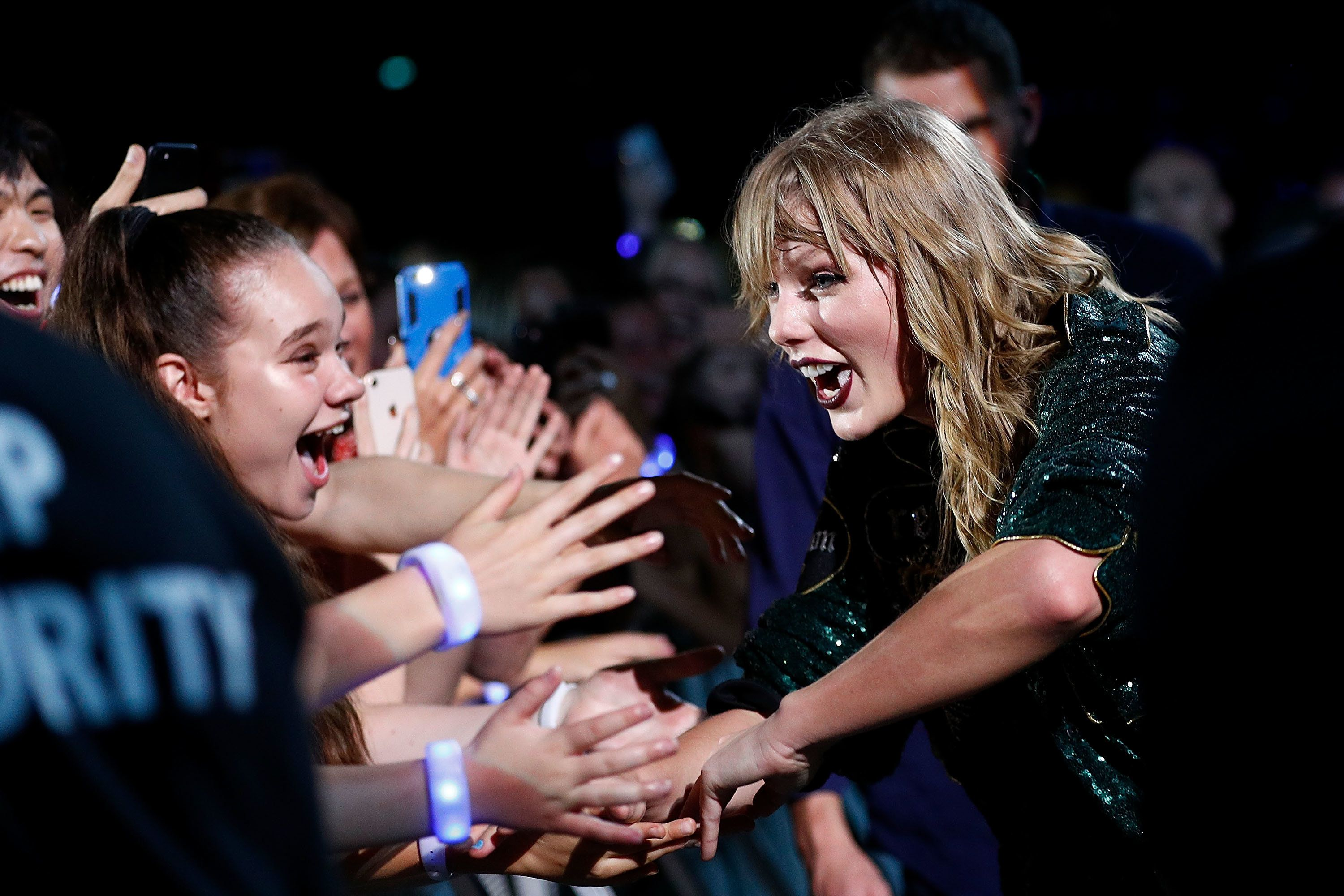 Taylor Swift greets fans at the Brisbane, Australia, stop of her Reputation tour.