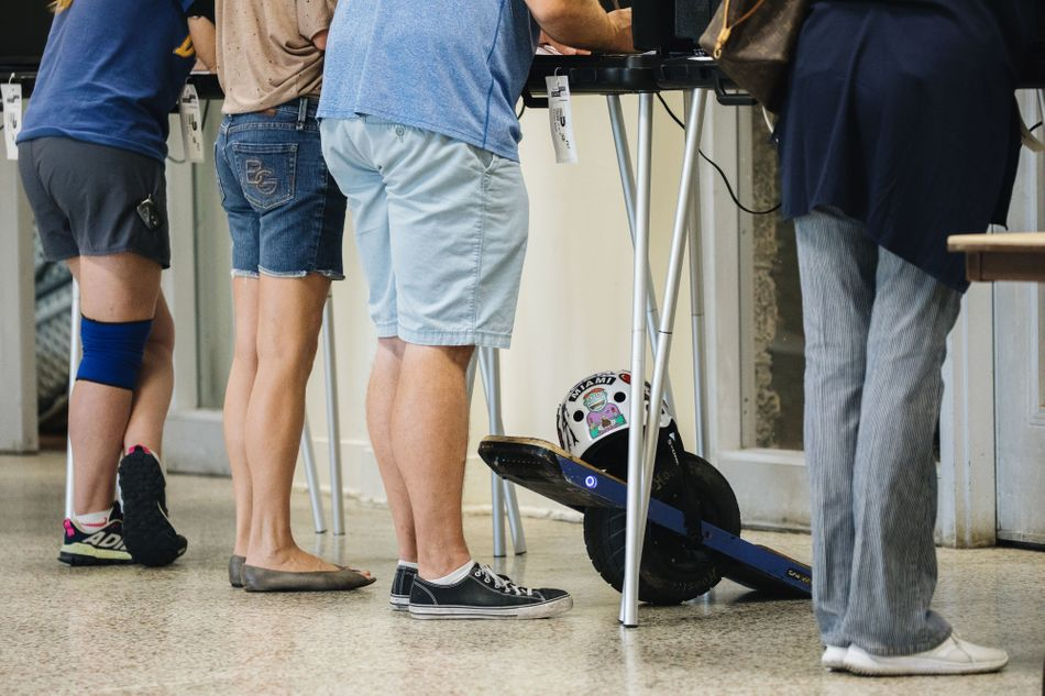 Voters cast ballots at a polling station in Miami, Florida.&nbsp&#x3B;