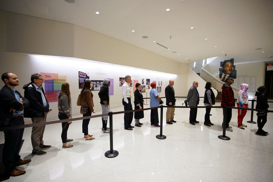 Voters wait in a line inside the Center for Civil and Human Rights in Atlanta, Georgia.