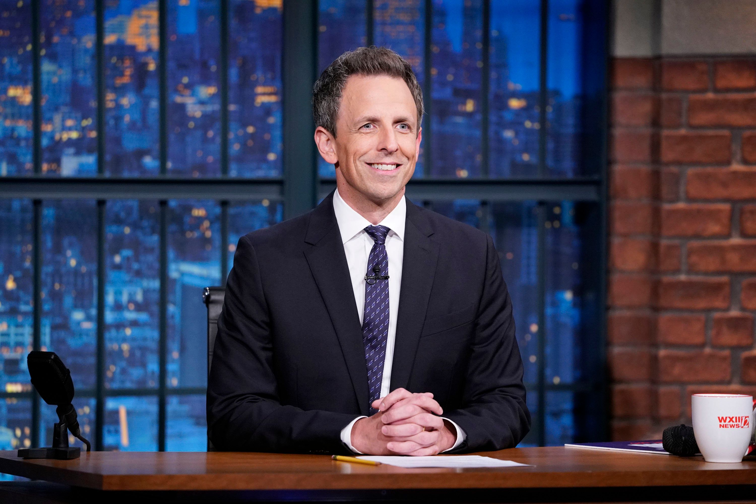LATE NIGHT WITH SETH MEYERS -- Episode 753 -- Pictured: Host Seth Meyers during the monologue on November 5, 2018 -- (Photo by: Lloyd Bishop/NBC/NBCU Photo Bank via Getty Images)