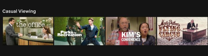 "The ""Casual Viewing"" category on Netflix."