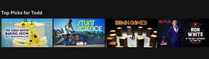 "The ""Top Picks"" category on Netflix."
