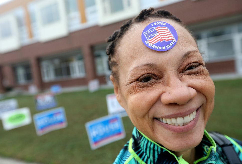 Donna Anderson lets people know she voted at College Park Elementary School in Virginia Beach, Virginia.