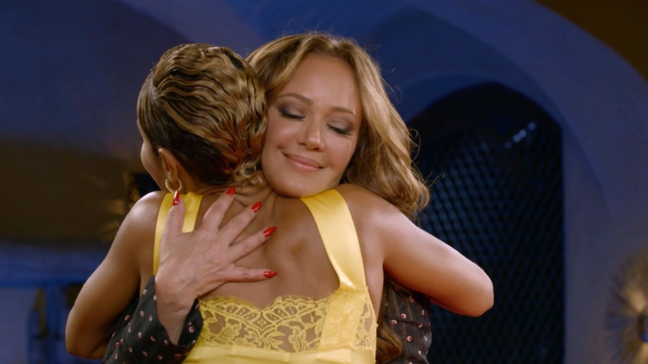 "Jada Pinkett Smith and Leah Remini hug on ""Red Table Talk."""