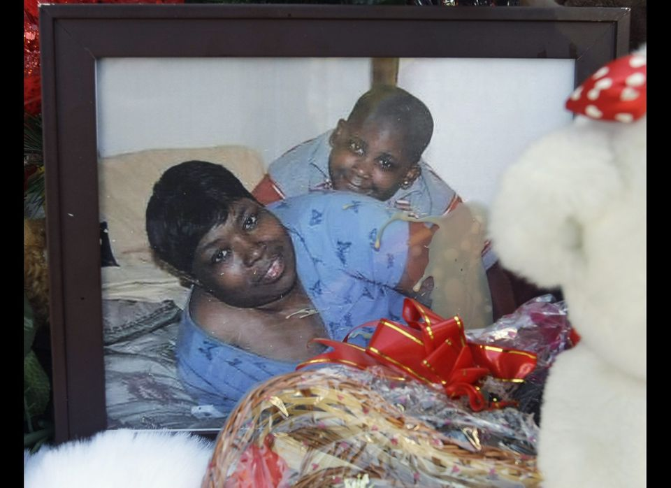 An Oct. 28, 2008 file photo shows a photograph of Darnell Hudson Donerson and her 7-year-old grandson, Julian King, at a make