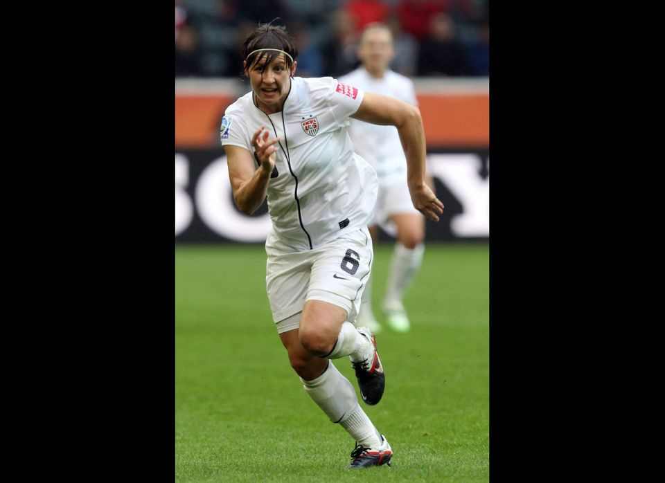Amy Lepeilbet of USA runs during the FIFA Women's World Cup 2011 Semi Final match between France and USA at Borussia-Park on