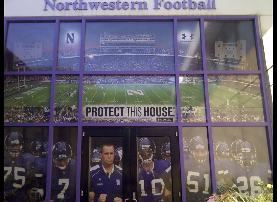 EVANSTON, Ill. (Sept. 15, 2012) -- The front entrance to Northwestern's Nicolet Football Center features Head Coach Pat Fitzg
