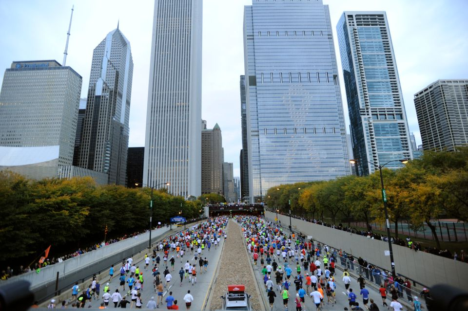 Runners start the 2012 Chicago Marathon Sunday, Oct. 7, 2012. With 42-degree temperatures at the start, the conditions were g