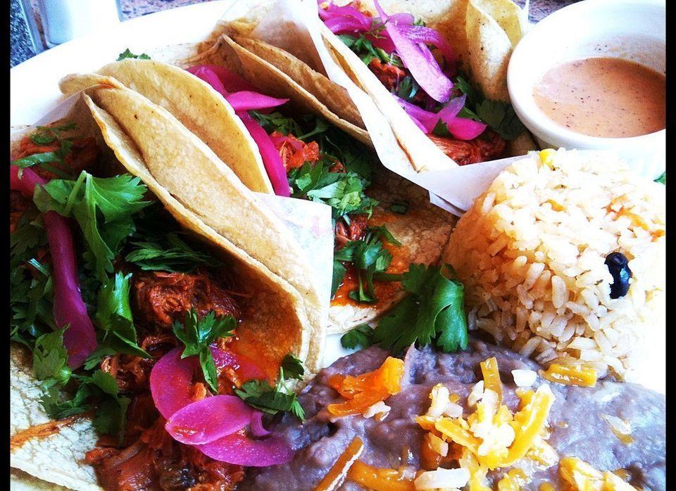 Tacos Conchinita Pibil at Azteca de Oro in Wrigleyville. Nom.