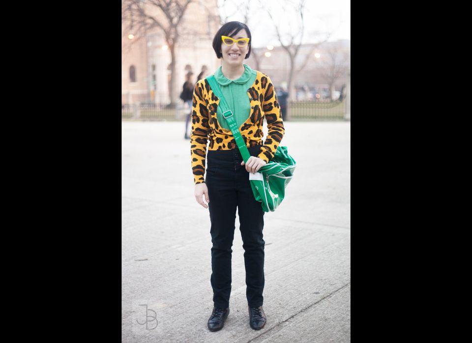 <em>Hook-worthy: </em>bright yellow cat-eye glasses, leopard print cardigan, kelly green Peter Pan collar blouse
