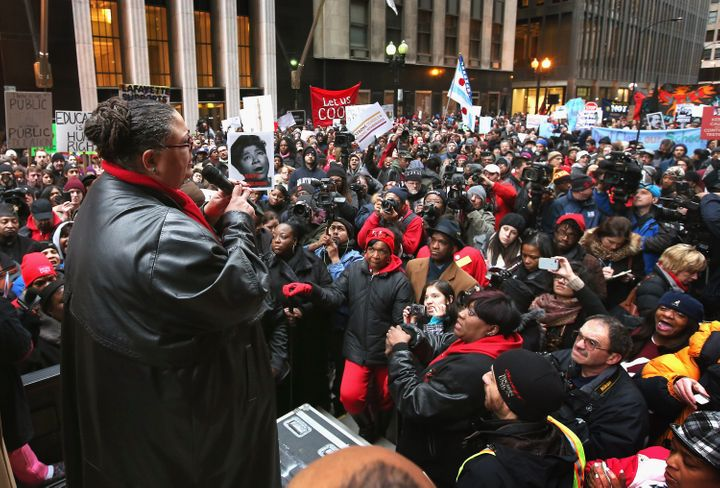 CHICAGO, IL - MARCH 27:  Chicago Teachers Union President Karen Lewis speaks to demonstrators protesting school closings on M