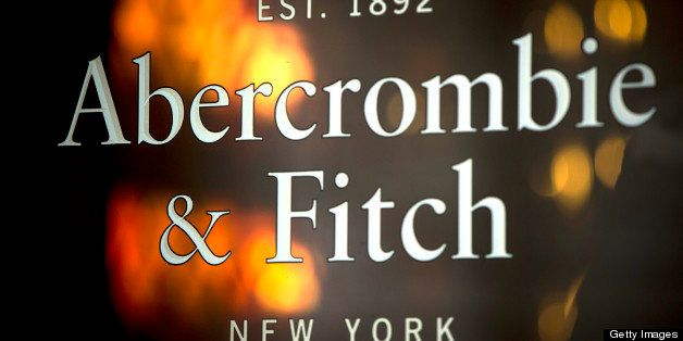 The logo for Abercrombie & Fitch Co. is displayed outside their store on Burlington Gardens in central London, U.K., on Monda
