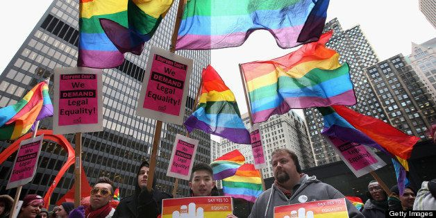 CHICAGO, IL - MARCH 25:  Gay rights activist rally in support of gay marriage March 25, 2013 in Chicago, Illinois. The Suprem