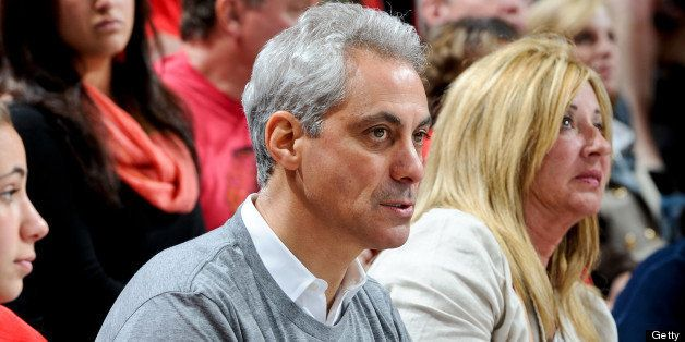 CHICAGO, IL - JUNE 8: Chicago Mayor Rahm Emanuel watches Game Five of the Western Conference Final between the Los Angeles Ki