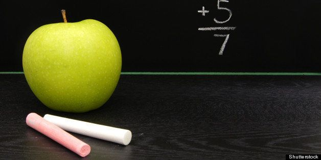teachers apple and chalk on a...