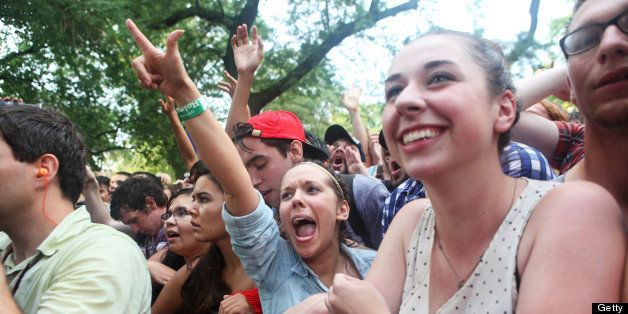 CHICAGO, IL - JULY 13:  Fans watch the performance of Japandroids during the 2012 Pitchfork Music Festival in Union Park on J