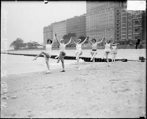 1928: Five young women performing a ballet dance on the sand at Oak Street Beach. (DN-0086489, Chicago Daily News negatives c