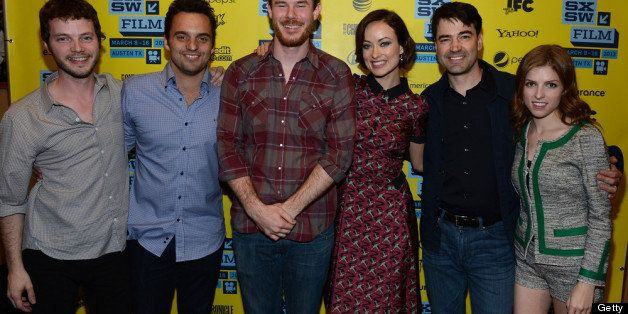 AUSTIN, TX - MARCH 09:  (L-R) D.P. Ben Richardson, actor Jake Johnson, director Joe Swanberg, actress Olivia Wilde, actor Ron