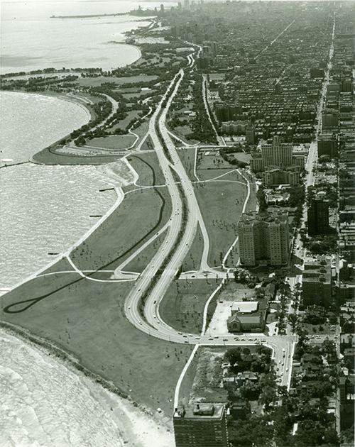 Aerial view of North Lake Shore Drive.
