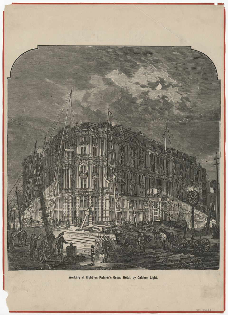 Illustration from the Land Owner of workers rebuilding the Palmer House hotel after the Great Chicago Fire, Chicago, Illinois