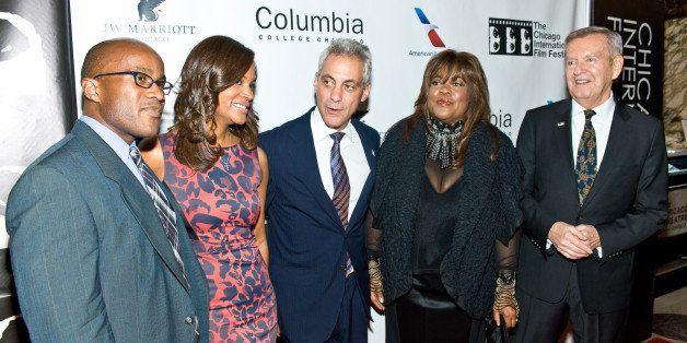 CHICAGO, IL - OCTOBER 10:  Daniel Jackson, Sonia Evans, Chicago Mayor Rahm Emanuel, Chaz Ebert, and Festival Founder Michael