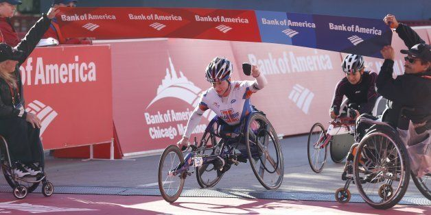 Tatyana McFadden, of Champaign, Illinois, wins the women's wheelchair division of the Bank of America Chicago Marathon in Chi