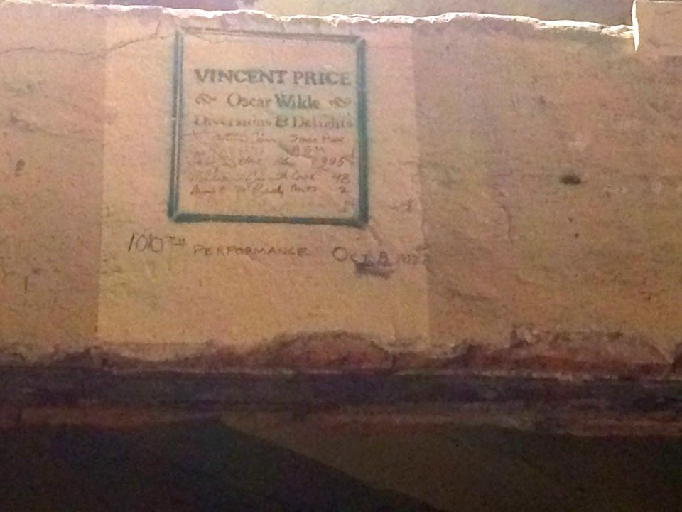 Inside the Studebaker Theatre, a sign from Vincent Price and Oscar Wilde who performed a milestone show in the '70s.