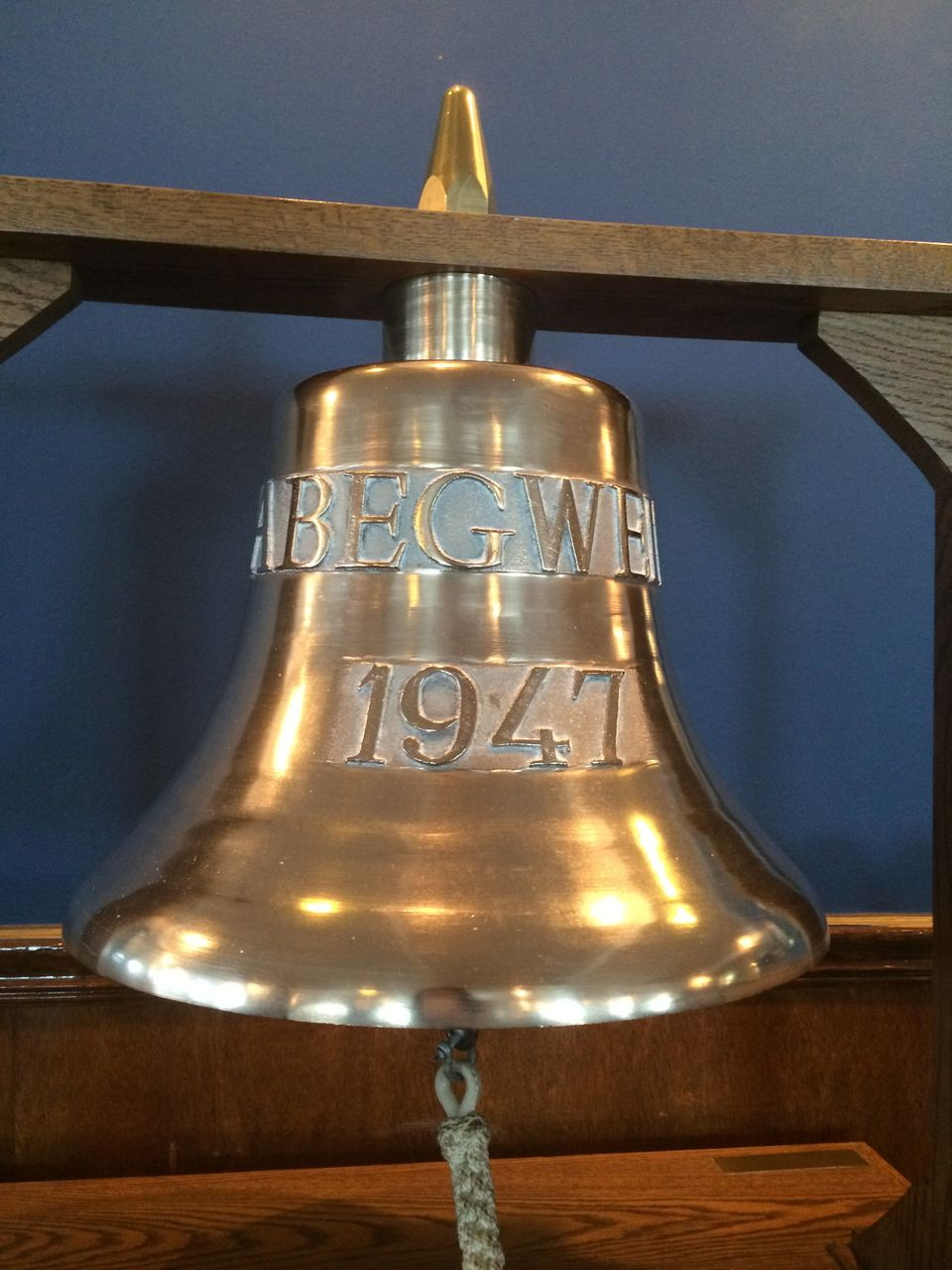 The bell of the Abegweit sits in the dining room of the floating club.  The CYC, named for the 1893 World's Columbian Exposit