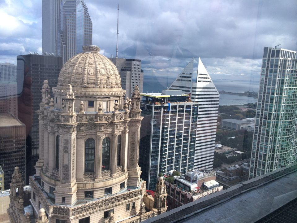A view of the Jeweler's Building, the Smurfitt-Stone building and others from the 41st floor of the Kemper building.