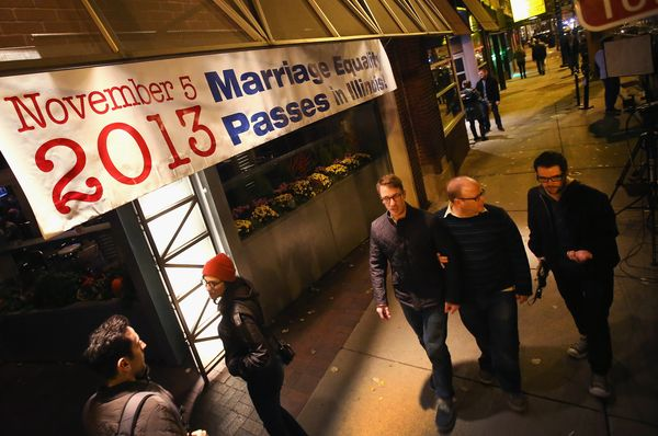A banner celebrating  the Illinois General Assembly's approval a gay marriage bill hangs above the Sidetrack bar on November