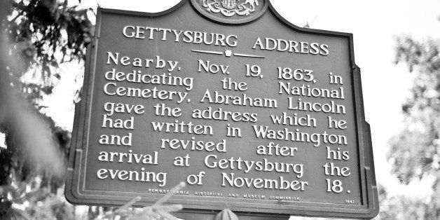 [UNVERIFIED CONTENT] Historic site signage by the Gettysburg Cemetery in rural Pennsylvania. Wording reads 'Nearby. Nov. 19 1