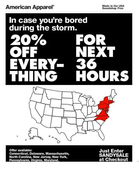 """As the East Coast battled Hurricane Sandy on Monday night, retailer <a href=""""https://www.huffpost.com/entry/american-apparel-"""