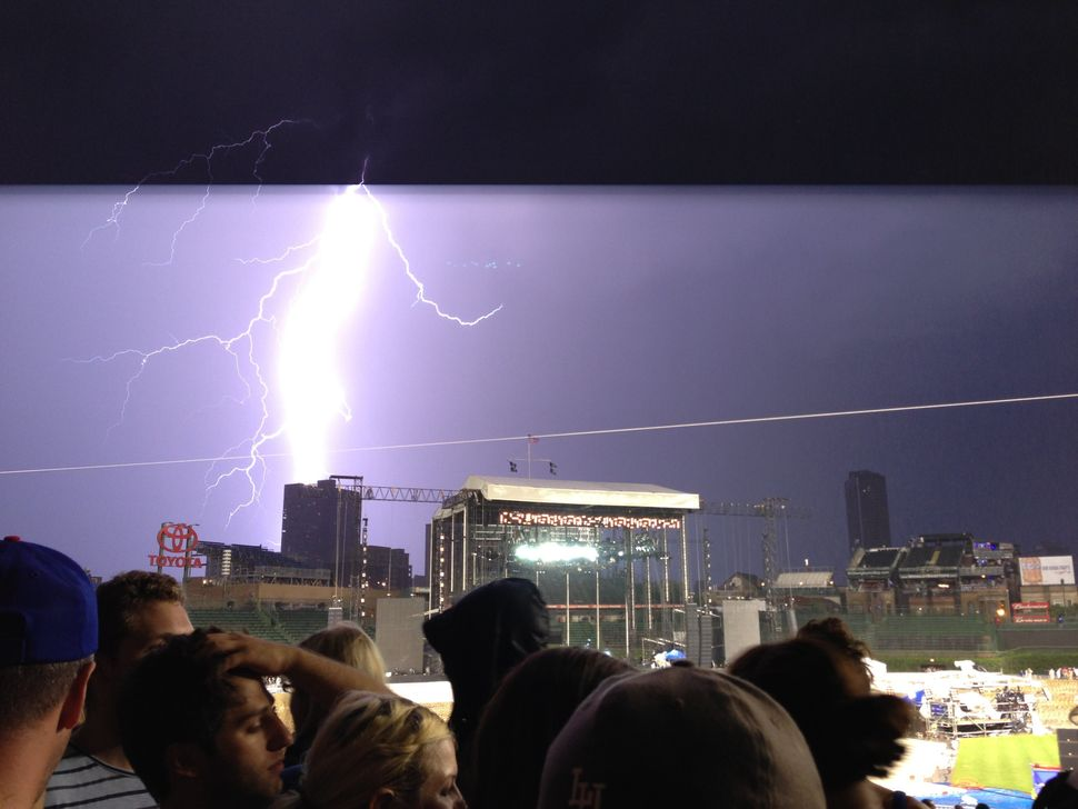 Lightning strike during the Pearl Jam concert at Wrigley Field.