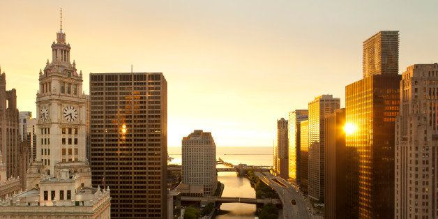 Sunrise along the river in downtown Chicago.