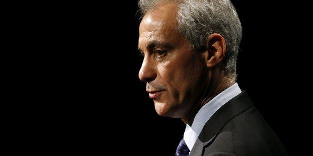 Chicago Mayor Rahm Emanuel responds to a question after his last televised mayoral debate with challenger, Cook County Commis