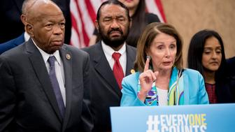 House Minority Leader Nancy Pelosi of Calif., accompanied by Rep. Elijah Cummings, D-Md., left, Rep. Al Green, D-Texas, second from left, Leadership Conference For Civil And Human Rights President and CEO Vanita Gupta, right, and others, speaks at a news conference on Capitol Hill in Washington, Tuesday, May 8, 2018, on the Trump administration's decision to add a new question on citizenship to the 2020 Census. (AP Photo/Andrew Harnik)