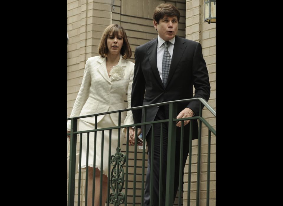 Former Illinois Gov. Rod Blagojevich and his wife, Patti, leave their home Monday, June 27, 2011, in Chicago heading to the f