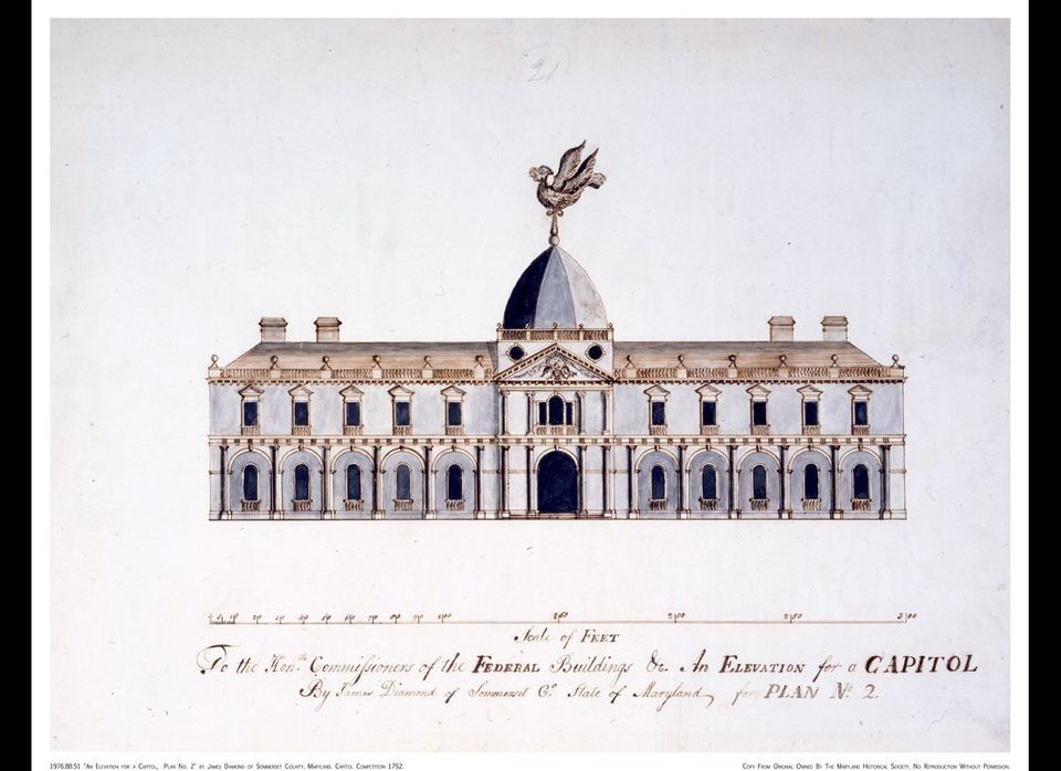 This entry to the U.S. Capitol design competition by James Diamond in 1792 is one of many sent in by amateur architects. This