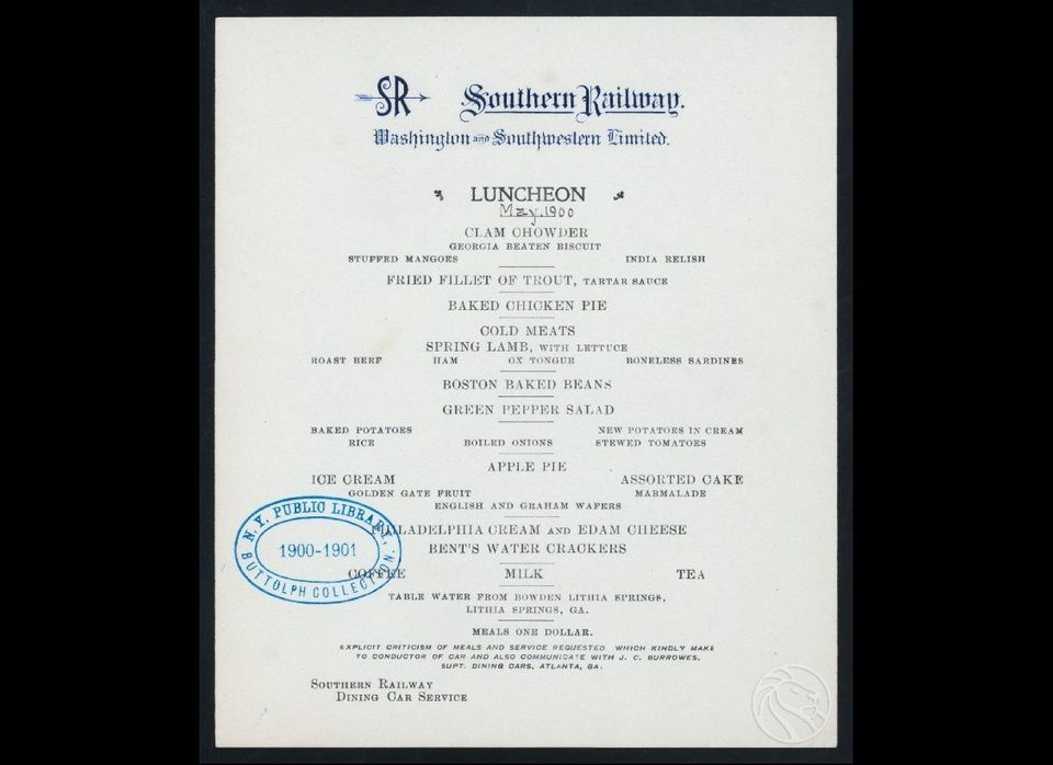 On this menu from Southern Railroad's Washington and Southwestern Limited line, all meals are a whopping $1. It wasn't exactl